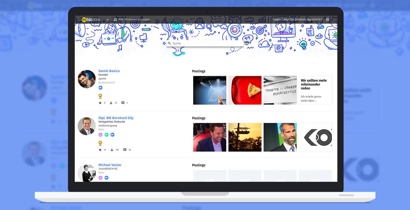 Bizbook user listings