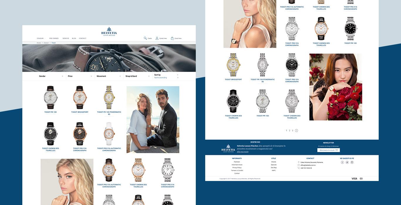 Helvetia Product listing design